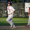 Dirt Dawgs' Cam Oliveria rounds the bases after hitting back-to-back homeruns with Ryan Solomon during the game against Brockton Rox at Doyle Field on Tuesday evening. SENTINEL & ENTERPRISE / Ashley Green