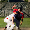 Dirt Dawgs' second baseman and Leominster native Ryan Lever tags Dillion Cooper out during the game against Brockton Rox at Doyle Field on Tuesday evening. SENTINEL & ENTERPRISE / Ashley Green
