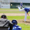 Fitchburg High School Baseball played Lunenburg High School at home on Monday mornng. LHS pitcher Marc Poirier fires in a pitch during action in the game. SENTINEL & ENTERPRISE/JOHN LOVE