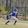 Fitchburg High School Baseball played Lunenburg High School at home on Monday mornng. FHS's catcher Diosmir Reynoso and LHS's Dave Broden watch the ball during action in the game. SENTINEL & ENTERPRISE/JOHN LOVE