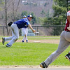 Fitchburg High School Baseball played Lunenburg High School at home on Monday mornng. LHS's pitcher picks up a ground ball and underhands it to first to get the runner out during action in the game. SENTINEL & ENTERPRISE/JOHN LOVE