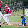 Leominster's Rocco Pandiscio is tagged out at second by Fitchburg's James Descoteaux during the game on Wednesday afternoon. SENTINEL & ENTERPRISE / Ashley Green