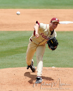 #25 Mike McGee pitches the ball at the FSU vs. Virginia Tech Baseball Game held on May 3, 2009 at Dick Howser Stadium in Tallahassee, FL.