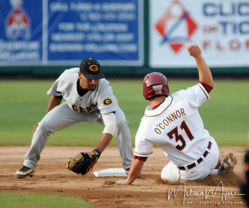 #31 Ruairi O'Connor slides into second base at the Florida State vs. Grambling State baseball game held on May 14, 2009 in Tallahassee, Florida.