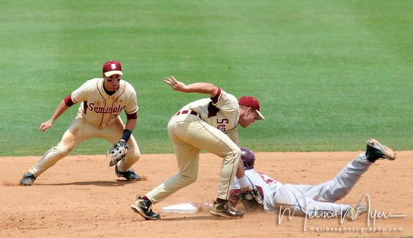 #3 Sean Gilmartin tags out a Virginia Tech runner at the FSU vs. Virginia Tech Baseball Game held on May 3, 2009 at Dick Howser Stadium in Tallahassee, FL.