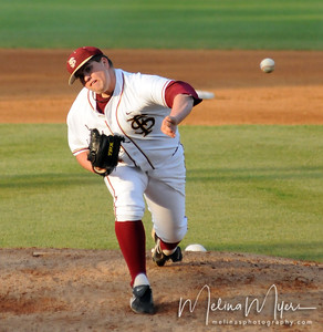 #24 Brian Busch pitches the ball at the Florida State vs. Virginia Tech Baseball game on May 1, 2009 in Tallahassee, FL.