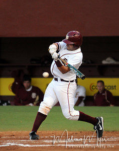 #29 Rafael Lopez hits the ball at the Florida State vs. Virginia Tech Baseball game on May 1, 2009 in Tallahassee, FL.