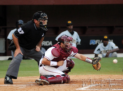#29 Rafael Lopez catches a strike at the Florida State vs. Grambling State baseball game held on May 14, 2009 in Tallahassee, Florida.