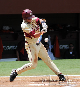 #38 Stephen Cardullo hits the ball at the FSU vs. Virginia Tech Baseball Game held on May 3, 2009 at Dick Howser Stadium in Tallahassee, FL.