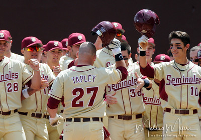 Seminoles congratulate #27 Stuart Tapley after hitting a home run during the University of Virginia and Florida State University Baseball match held on Sunday, March 14, 2010 in Tallahassee, Florida.