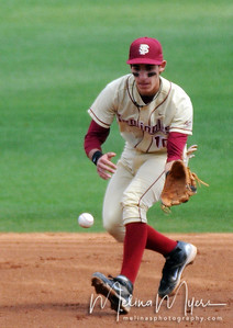 #10 Justin Gonzalez fields the ball during the University of Virginia and Florida State University Baseball match held on Sunday, March 14, 2010 in Tallahassee, Florida.