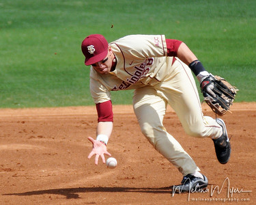 #38 Stephen Cardullo makes a bare hand stop during the University of Virginia and Florida State University Baseball match held on Sunday, March 14, 2010 in Tallahassee, Florida.