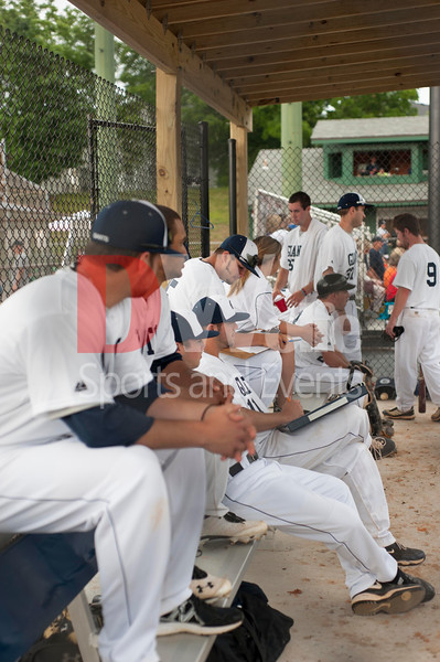 The Gaithersberg Giants in their  dugout at the home opener game.  The game was played at the newly renovated Crisswell Automotive Field at Kelley Park in Gaithersburg.