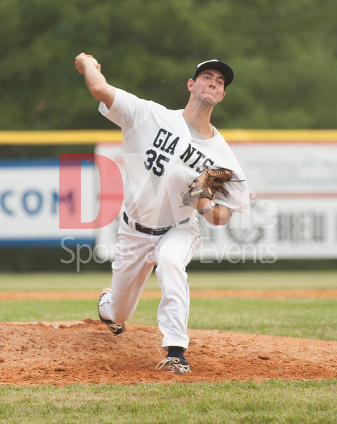 Kyle Colgain (35) of Bethesda puts everything in his pitches.  Kyle is a Junior at Denison Univeristy.