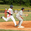 Chris Kashangaki (1) tags the bag a split second late and is called out.  Joe is from Randallstown and is a Junior at LaSalle University.