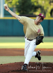Pitcher Adam Simmons (38) pitches the ball at the annual Garnet and Gold Baseball game held on October 22, 2010 at Dick Howser Stadium.