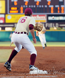 First Baseman Jayce Boyd (16) catches the ball at the annual Garnet and Gold Baseball game held on October 22, 2010 at Dick Howser Stadium.