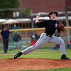 GREG KEIM | THE GOSHEN NEWS<br /> Senior pitcher Chad Sellers delivers a pitch for the NorthWood Panthers in an NLC high school baseball contest Wednesday night with the Goshen RedHawks at Phend Field in Goshen.