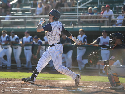 Miles Bice smacks a double to lead-off the game and start an early 5-run rally as the Chico Heat play the Marysville Gold Sox in the third game of a three-game series Saturday, July 30, 2016 at Nettleton Stadium in Chico, California. (Dan Reidel -- Enterprise-Record)