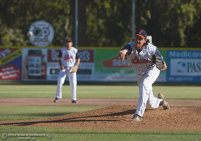 Pitcher Coleman Harrigan (22) delivers as the Chico Heat play the Marysville Gold Sox in the third game of a three-game series Saturday, July 30, 2016 at Nettleton Stadium in Chico, California. (Dan Reidel -- Enterprise-Record)