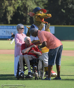 Former Heat player from the 1997-2002 era Tim Cooper, right, greets Kathy and Steve Nettleton before the Chico Heat play the Marysville Gold Sox in the third game of a three-game series Saturday, July 30, 2016 at Nettleton Stadium in Chico, California. (Dan Reidel -- Enterprise-Record)