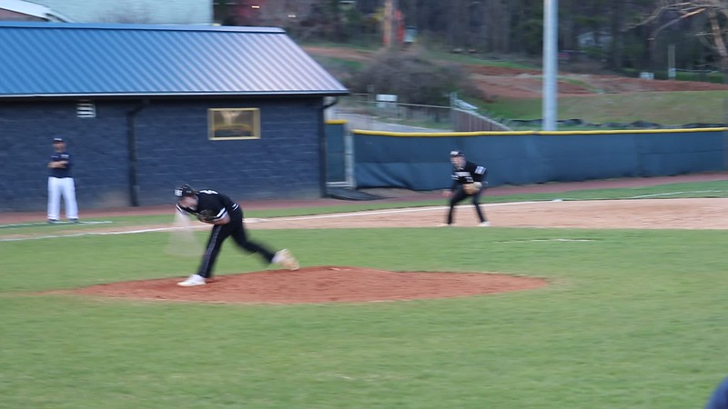 2019-0323 McGahan Pitches & Shuldt fields to Lug for Out at 1st Hough @ TC Robertson MVI_7450