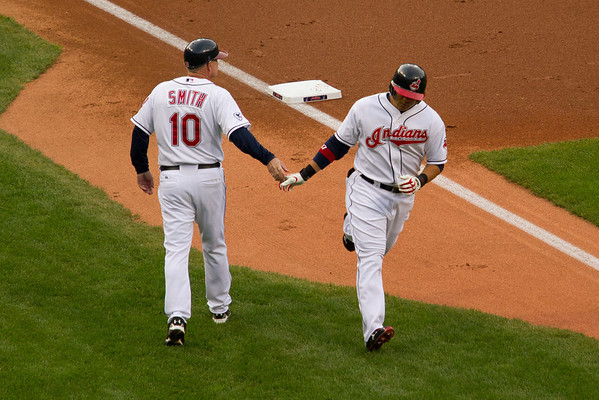 Shin-Shoo Choo goes deep in the first inning, giving the Tribe a 1-0 lead.