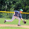 The Jimmy Fund baseball Leominster American at Lunenburg on Saturday.  Leominster's Sean Dutton goes after a ground ball during action in the game. SENTINEL & ENTERPRISE/JOHN LOVE