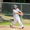 The Jimmy Fund baseball Leominster American at Lunenburg on Saturday.  Lunenburg's Nathan Handy keeps his eyes on the ball as he swings at a pitch during action in the game.  SENTINEL & ENTERPRISE/JOHN LOVE