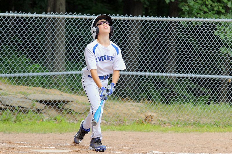 The Jimmy Fund baseball Leominster American at Lunenburg on Saturday. Lunenburg's Sam Seminatore watches his pop up during action in the game.  SENTINEL & ENTERPRISE/JOHN LOVE