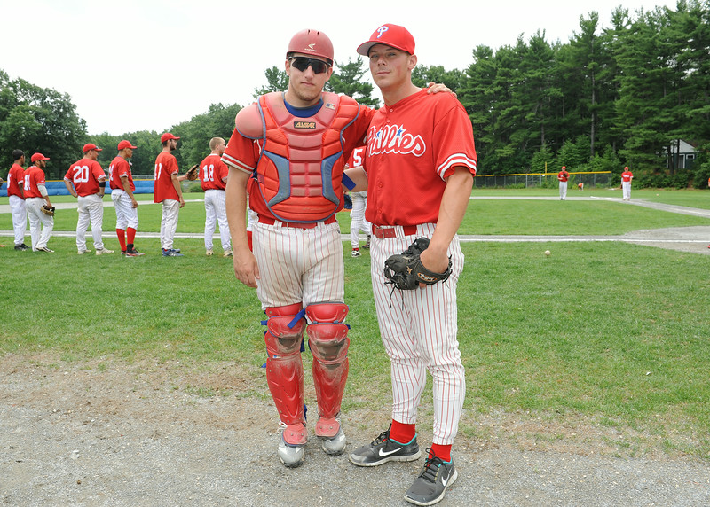 From left, Frank Yavorosky, of Gardner and Josh Geswell during Sunday's Phillies vs. Ronnies game at Marshall Park in Lunenburg.