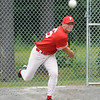 Josh Geswell warms up before Sunday's Phillies vs Ronnies game at Marshall Park in Lunenburg.