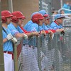 Lakeland players watch as the Lakers bat early in Tuesday's game against Concord at Concord High School in Elkhart.