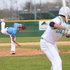Lakeland senior Clinton Bowers (8) fires a pitch toward home on Tuesday at Concord High School in Elkhart.