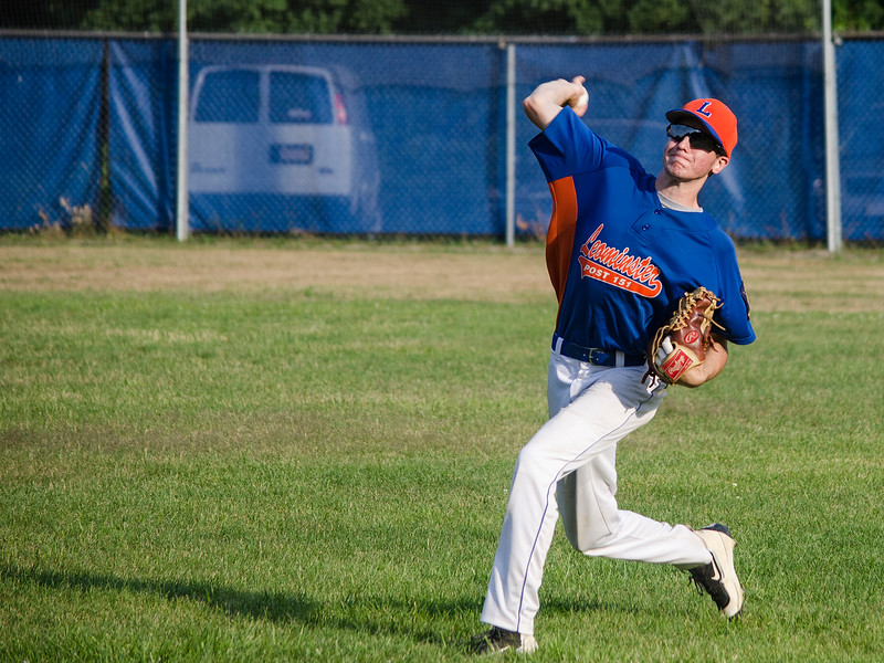 Sage Bray makes a play from right field after a bad throw by catcher Rocco Pandiscio during the Leominster American Legion game against East Side on Thursday evening. SENTINEL & ENTERPRISE / Ashley Green