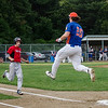 Eddie Cuddahy leaps to try and make a catch on a bad throw by catcher Rocco Pandiscio during the Leominster American Legion game against East Side on Thursday evening. SENTINEL & ENTERPRISE / Ashley Green