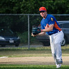 James Powers makes a play to first during the Leominster American Legion game against East Side on Thursday evening. SENTINEL & ENTERPRISE / Ashley Green