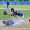 Leominster American Legion's Brett Corliss slides safely into home during the 6-5 win over Shrewsbury on Tuesday evening at Pin Cannovino Field in Leominster. SENTINEL & ENTERPRISE / Ashley Green