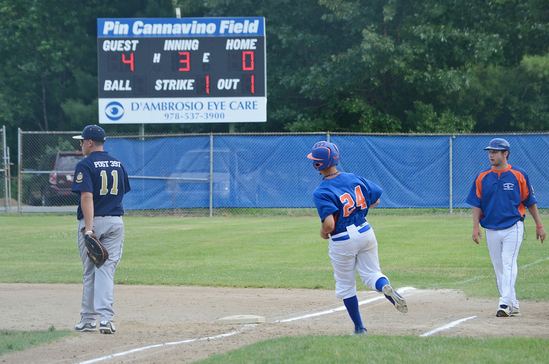 Leominster American Legion's Brett Corliss hits a single in the 6-5 win over Shrewsbury on Tuesday evening at Pin Cannovino Field in Leominster. SENTINEL & ENTERPRISE / Ashley Green