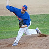 Leominster American Legion's Marc Poirier took the mound in the 6-5 win over Shrewsbury on Tuesday evening at Pin Cannovino Field in Leominster. SENTINEL & ENTERPRISE / Ashley Green