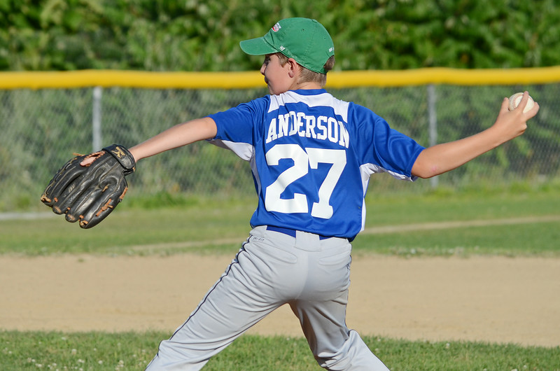 Leominster American's Mike Anderson takes the mound during the 9-10-year-old Jimmy Fund game against Chuck Stone on Wednesday evening. SENTINEL & ENTERPRISE / Ashley Green