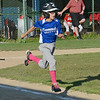 Leominster American's AJ Mills runs for first during the 9-10-year-old Jimmy Fund game against Chuck Stone on Wednesday evening. SENTINEL & ENTERPRISE / Ashley Green