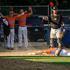 Nick Carlucci gets caught in a pickle before diving safely back to third base during the Leominster American Legion Post 151 game against North County on Wednesday evening. SENTINEL & ENTERPRISE / Ashley Green