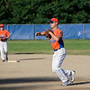 Brandon Lefebvre makes a play to first base during the Leominster American Legion Post 151 game against North County on Wednesday evening. SENTINEL & ENTERPRISE / Ashley Green