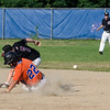 Nick Carlucci slides safely into second during the Leominster American Legion Post 151 game against North County on Wednesday evening. SENTINEL & ENTERPRISE / Ashley Green