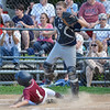 North Leominster's Joey Leblanc slides into home during the Leominster Little League City Championship at Justin DeSantis Field on Wednesday night. SENTINEL & ENTERPRISE / Ashley Green