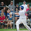 Leominster American's Bradley Albert watches as a homerun sails past the outfield during the District 3 Major League championship game on Thursday evening. SENTINEL & ENTERPRISE / Ashley Green