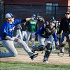 Leominster first baseman Eddie Cuddahy lends a hand to catcher Rocco Pandiscio, running in to catch a bunt during the game against Nashoba on Wednesday afternoon. SENTINEL & ENTERPRISE / Ashley Green
