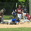 Nolan Kessinger steals 3rd base for home with bases loaded and is safe with Leom Rocco Pandiscio attempting the tag