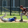 Dom Fusco safely back to first with Owen Lyons attempting tag